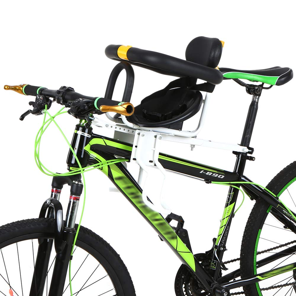 Lixada Seggiolino Anteriore per Bicicletta Sicurezza Bambino Sella per Bambini con Pedali Supporto per Appoggio per Bici da Corsa MTB