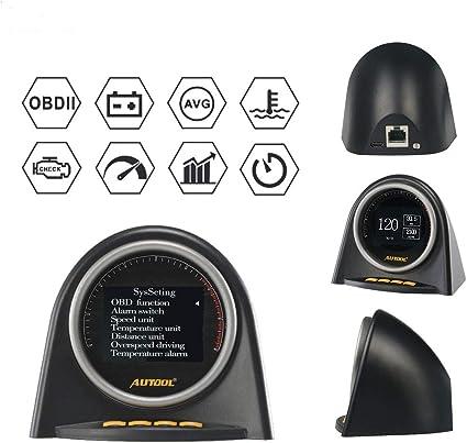 Autool X70 OBD Speedometer Alarm Engine Monitor Gauge Head UP Display Black