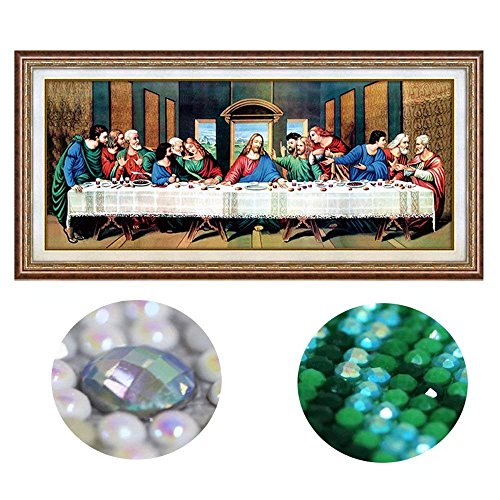Handser The Last Supper 5D DIY Diamond Painting, Special Shaped Diamond Painting Mosaic Diamond Cross Stitch Rhinestone Diamond Kit-Home Decor Craft Art (Canvas Size L:41x19.6inch.)