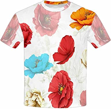 XS-XL INTERESTPRINT Kids T-Shirts Colored Flowers