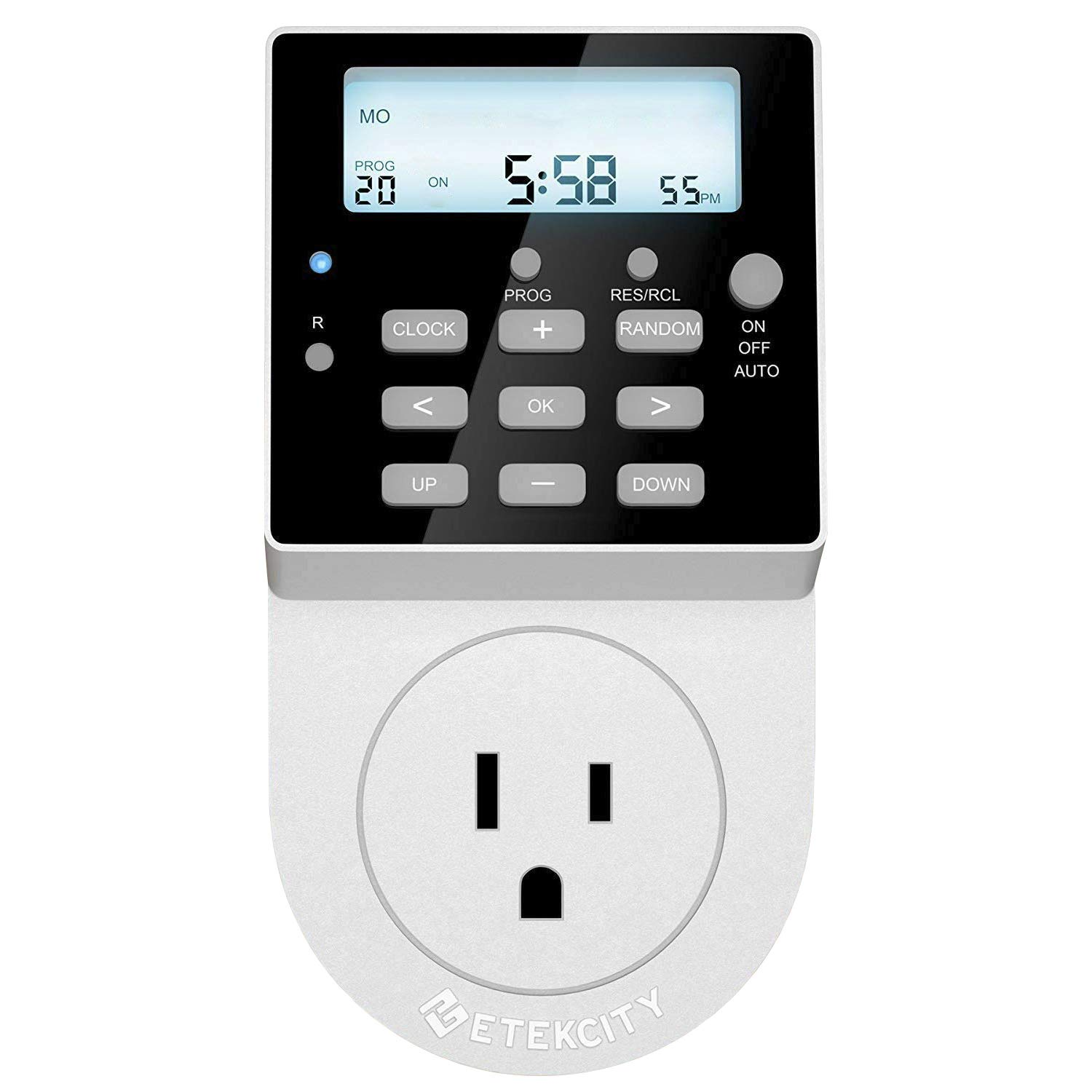 Etekcity Light Timer Outlet, Heavy Duty, 7 Day Timer, 20 Programmable Settings, Digital Switch with Backlight and Surge Protection, 15A/1800W
