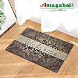 Rubber Doormat Indoor Low Profile Non-Slip Washable Welcome Mat for Front Porch Entrance Shoe...