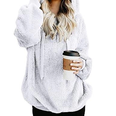 f156cd2454e93 Zengbang Donna Casual Caldo Pullover Felpe Giacca Maglione a Maglie Leggere  Pelose Inverno Giubbotto Cappotto  Amazon.it  Abbigliamento