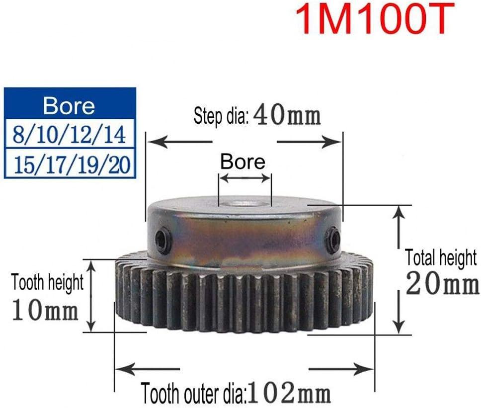 Bore:6mm; Step Diameter: 0mm, 1Mod 12T High Precision 1 Mod 12T Spur Gear 45# Steel Heavy Duty Pinion Gear 6mm Bore With Step x 1Pcs