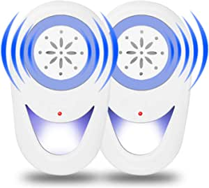 Antonki 2 Pack Mouse Repeller, Pest Repellent for All Pests & Rodent, Ultrasonic Effective & Safe to Pet & Human, Anti Rat/mosquito/cockroach/fly/bee/spider/flea