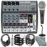 Behringer XENYX 1202FX 12 Channel Audio Mixer w/ Effects Processor and Deluxe Bundle w/ Samson Q6 Micc & Stand + Stereo Headphones + Cables + More
