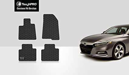 ToughPRO Honda Accord Floor Mats Set - All Weather - Heavy Duty - Black Rubber -