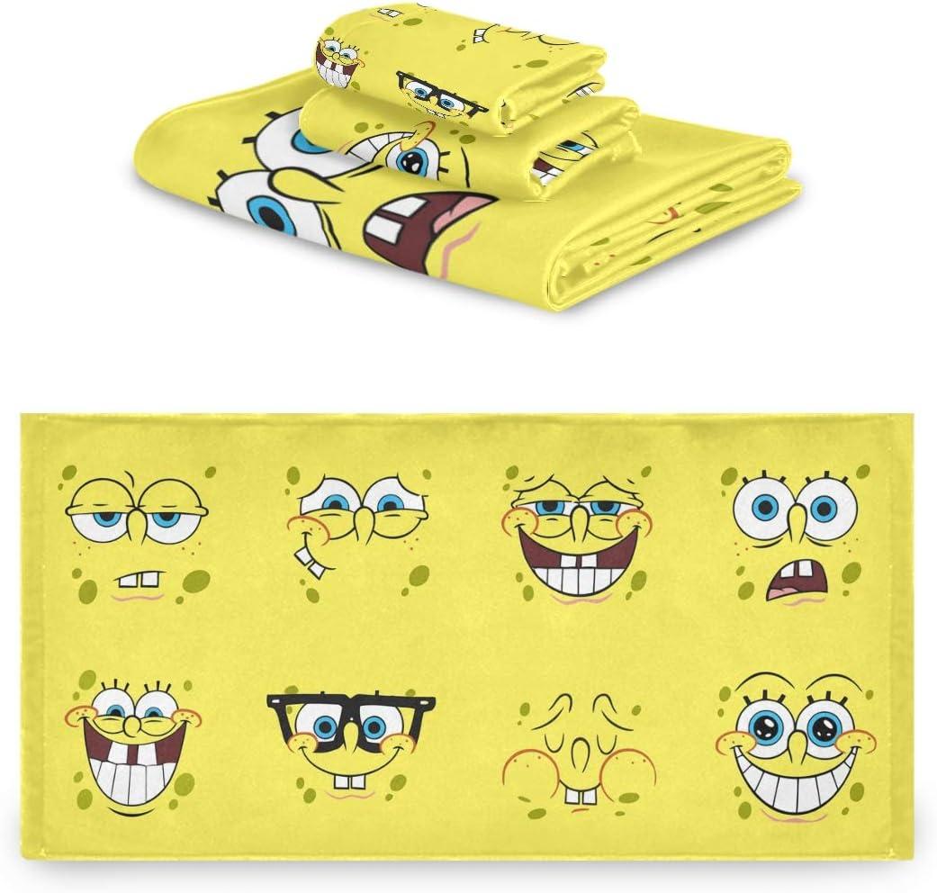 Spongebob Expression Cartoons Originality Home Bathroom Washcloth Polyester + Cotton Three Piece Towel Set Soft and Comfortable Facecloth, Includes Bath Towel, Towel and Small Square Towel