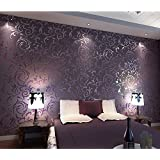 HANMERO Vintage Textured Wallcoverings Embossed Wall Paper Roll For Living  Room Bedroom Background Purple Part 52