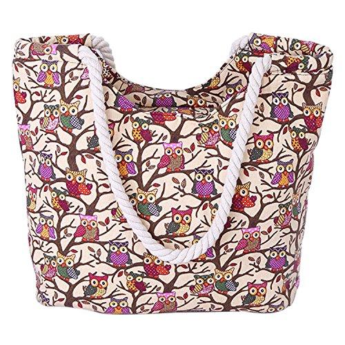 Bolso Shopper Compras Viaje Bolso Mujer beige Bolso Sasairy Bolsa Mano de Elefantes Casuales para de Búho Estampado Grande Durable Negro Lona Playa de Ideal Playa de Lona BaSxPS