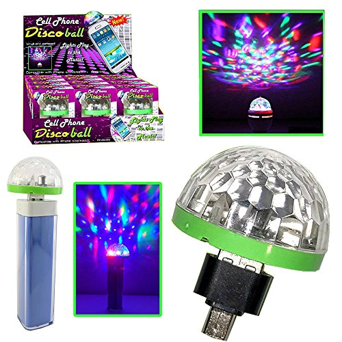 Cell Phone USB Disco Ball 2 Pack (Cell Charms Dance Phone)