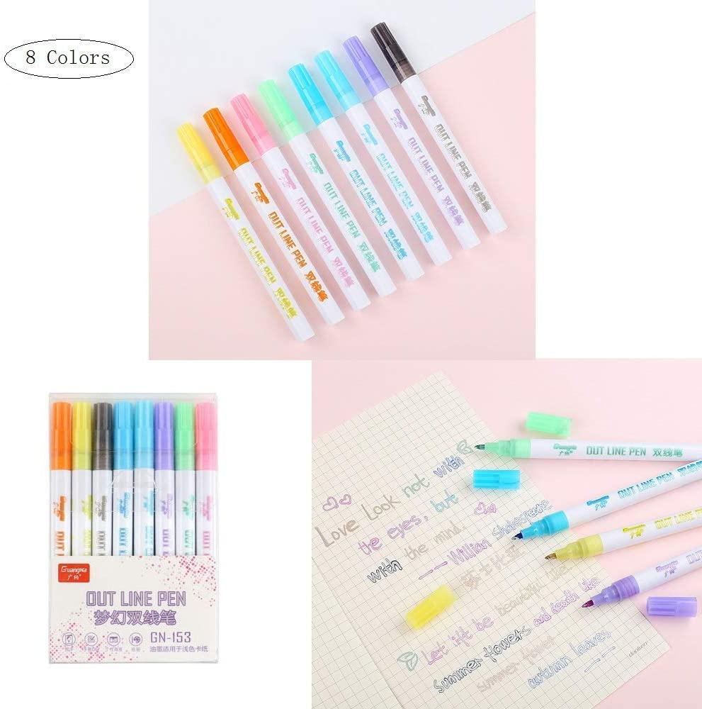 8 Colors Card DIY Writing Drawing Double Line Outline Highlighter Marker Pen