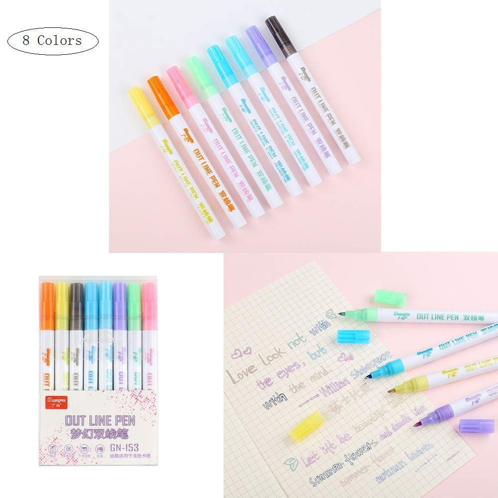 8 Color Writing & Drawing Double Line Outline Pen Highlighter Marker Pen, Two-line Color Smear Proof Watercolour Brush Pen, for Art Painting and DIY Crafts Glitter Pens Stationery Gift by Blueswan