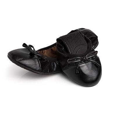 efbff9903b04 Talaria Flats Womens Foldable Ballet Flats Size 5 Black Black