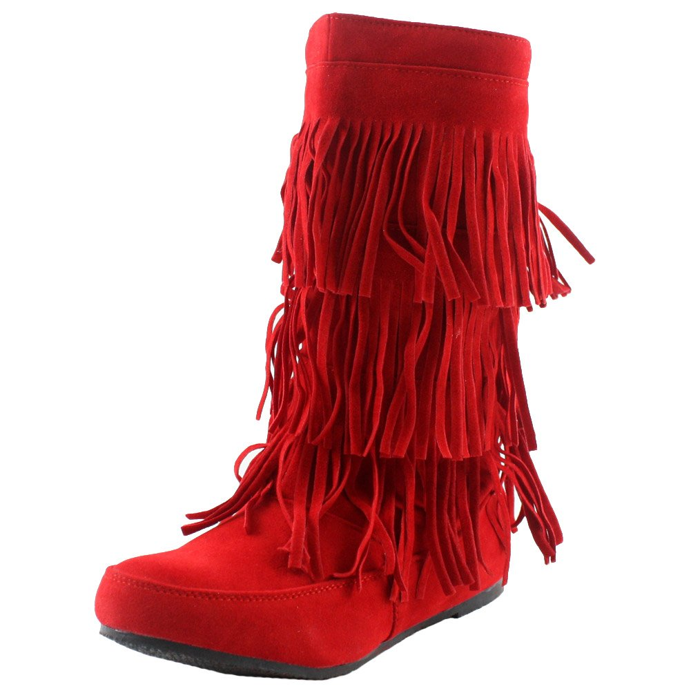 West Blvd Womens LIMA MOCCASIN Boots 3-Layer Fringe Tribal Indian Winter Faux Suede Leather Shoes,Red Su,5.5