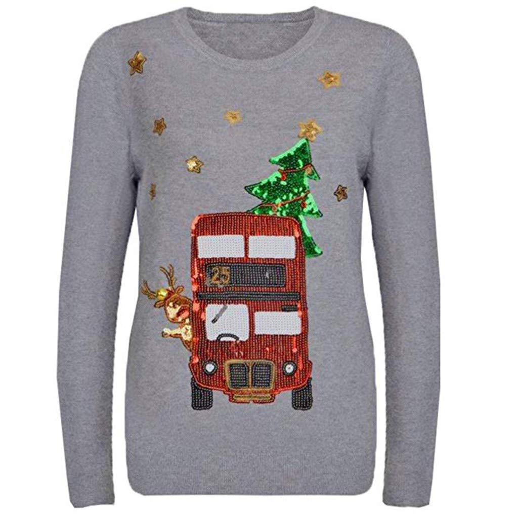 ZOMUSAR Women's Christmas Applique O-Neck Top Sweatshirt Festival Sequin Blouses T-Shirt Long Sleeve Tops Gray by ZOMUSAR