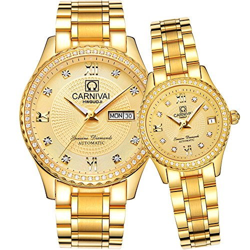 CARNIVAL Couple Watches Men and Women Automatic Mechanical Watch Romantic for Her or His Set of 2 (All Gold) by Carnival