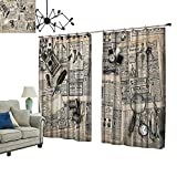 PRUNUS Blackout Curtains with Hook Antique Accessories Design Old Fashion Magazine Sewing and Writing Tools Beige and Black Warm Home Designs,W72 xL108