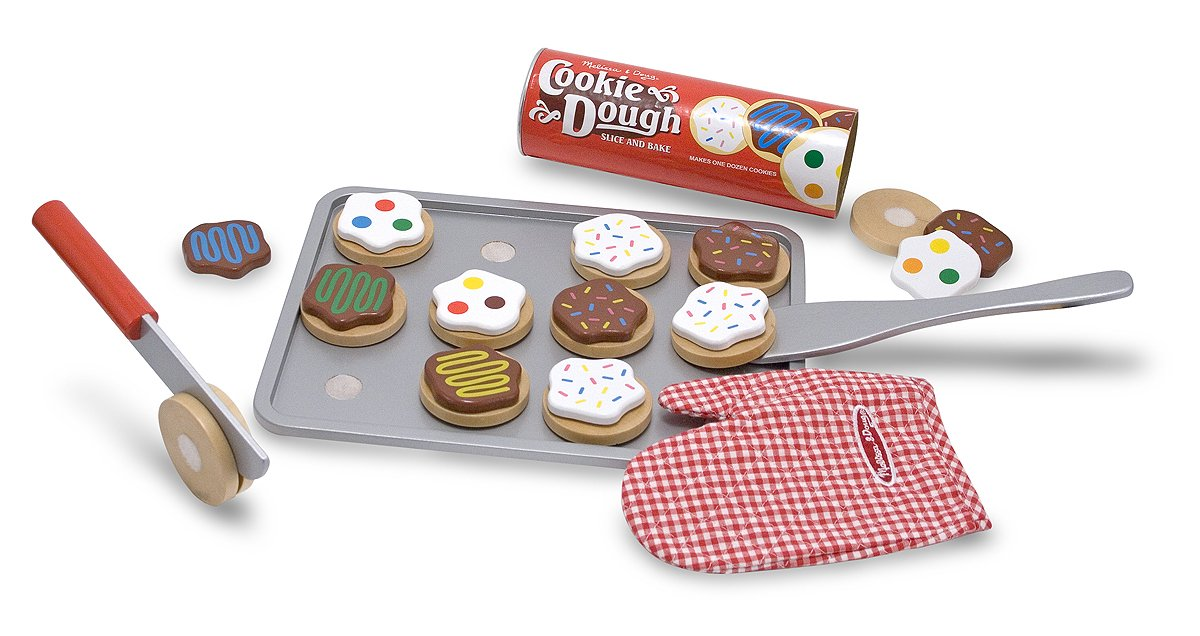 Melissa & Doug Slice-and-Bake Wooden Cookie Play Food Set, Pretend Play, Materials, 28 Pieces, 10.5'' H x 13.5'' W x 3.25'' L