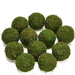 """Byher Decorative Ball Natural Green Moss Handmade (3.5""""-Set of 6)"""