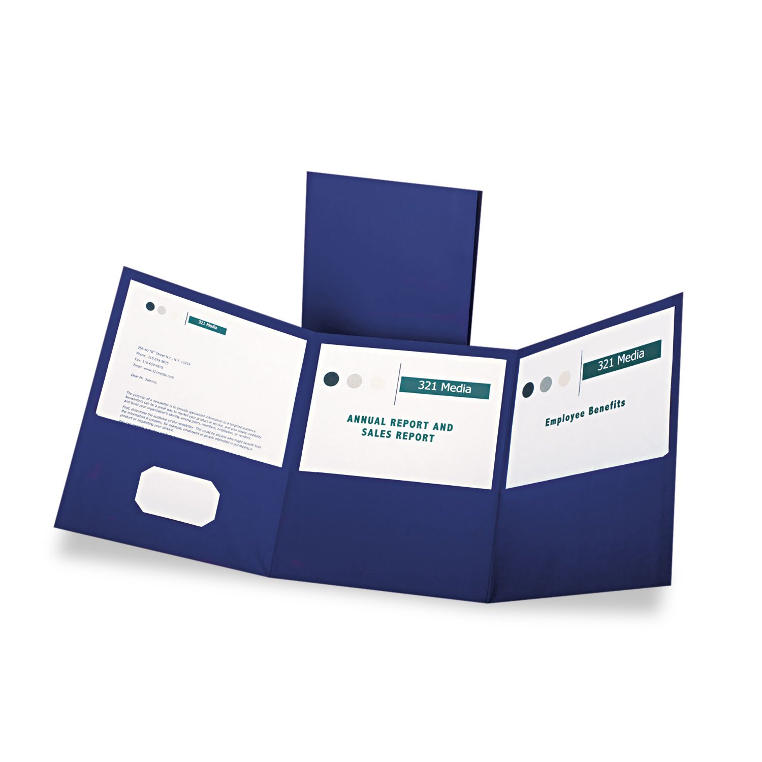 Oxford Tri-Fold Pocket Folders - Letter - 8.5''  Width x 11'' Length Sheet Size - 150 Sheet Capacity - 3 Pockets - Paper - Blue - 20/Box