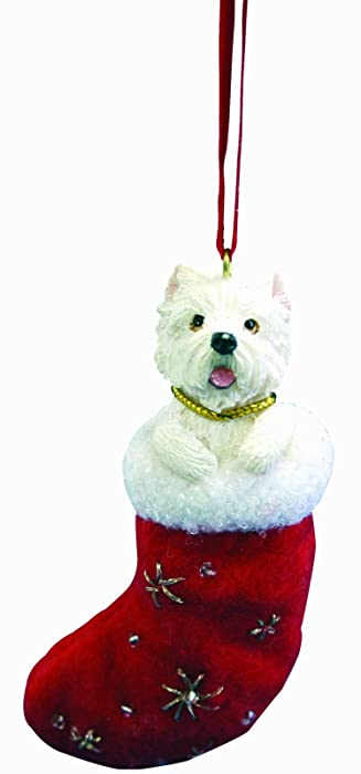 "Westie Christmas Stocking Ornament with ""Santa's Little Pals"" Hand Painted and Stitched Detail"