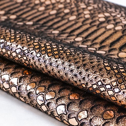 Springfield Leather Company Mystic Python Suede Cowhide Leather (By The Square Foot) (Black/Rose Gold) (Saddle Python)