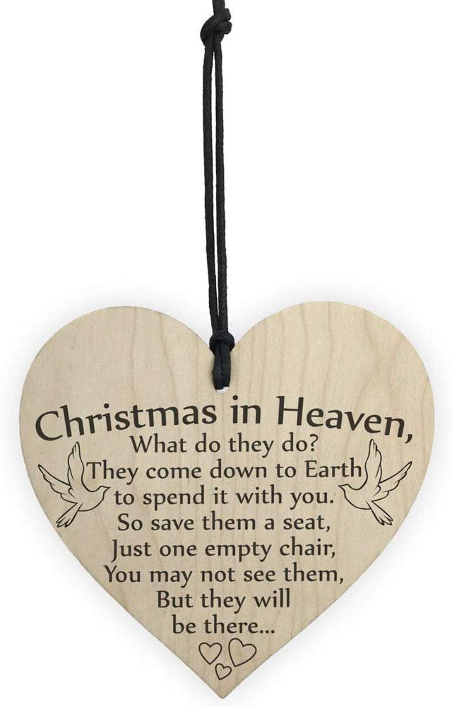 AOLUNO Christmas Wooden Hanging Xmas Tree Ornament Creative Wooden Heart Shaped Christmas in Heaven Wall Hangings (1PCS)