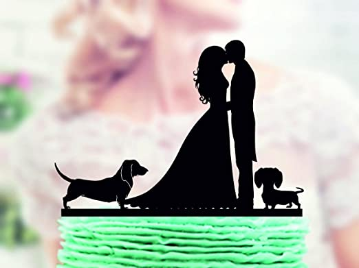 Wedding Cake Topper With Two Dogs Dachshund Couple With Dog Topper Silhouette For Wedding Dog Funny Cake Topper For Wedding Anniversary Gifts Wedding Party Favors Cake Toppers Amazon Ca Home Kitchen