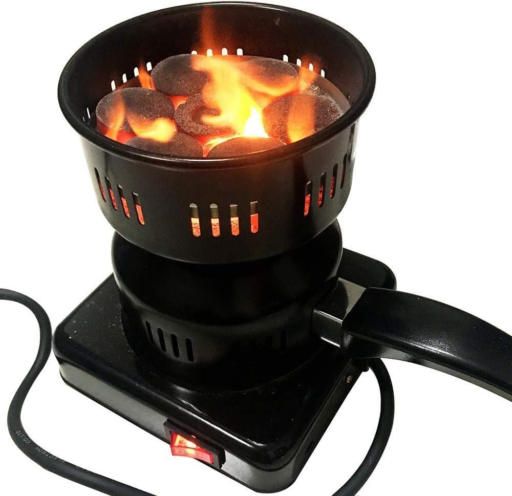 Eléctrica múltiples funciones carbón leña del quemador, quemador la estufa fuego para Narguile - Mango de porcelana revestimiento extraíble - Caldera para barbacoa, entrada Fuego y carbón quemador