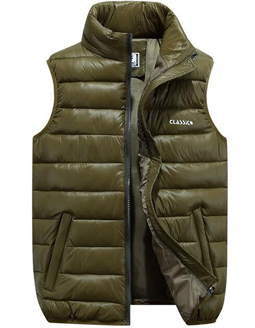 KLJR Men Slim Stand Collared Oversized Padded Vest Zip Up Front Gilet Quilted