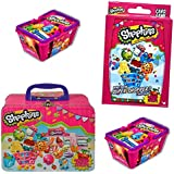 Shopkins Play Pack - Includes 4 Shopkins in Collectible Shopkins Tin Lunch Box - Who's the Super Shopper Card Game - Two Season 2 Shopkins Baskets - Perfect for Christmas!