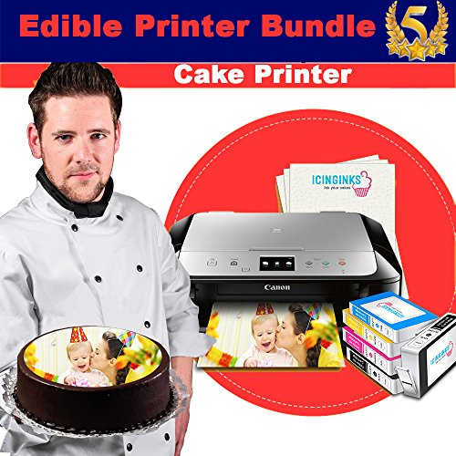 Edible Printer Bundle - Icinginks Canon Cake Printer With Refillable Edible Cartridges, Icing Sheets Pack - 12 Sheets - Newer Model Edible Printer by Icinginks