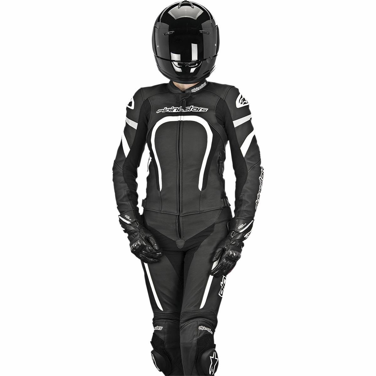 Alpinestars Motegi Women's 2-Piece Street Motorcycle Race Suits - Black/White / 38