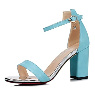 2ba6b86c439 Comfity Sandals Women Chunky Low Heels Ankle Trappy Dress High Heel Wedding  Shoes Party Sexy Pumps