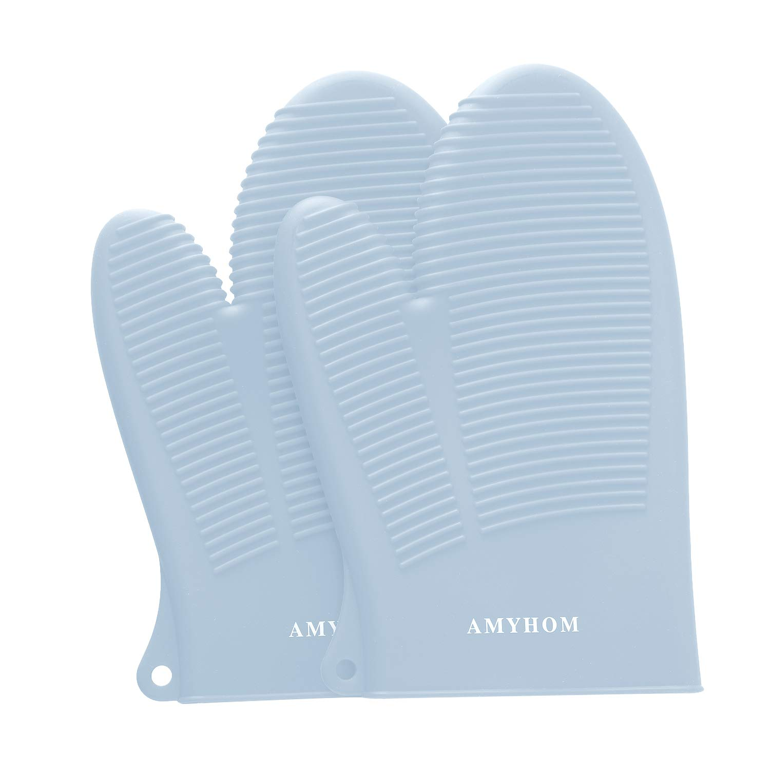 AMYHOM Silicone Oven Mitts, Superior Heat Resistance 446°F Food Grade Professional Safe Pot Holders Kitchen Gloves for Cooking Oven BBQ Barbecue Baking 1 Pair, Light Blue