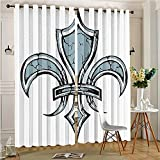 lihousehold Outdoor Curtain Panel for Patio De Lis Grungy Lily Renaissance Spirit Element Victory Holy Artwork Print Blue Black Thermal Insulated Blackout Outdoor Curtain(2 Panels, 54'' x 84'')