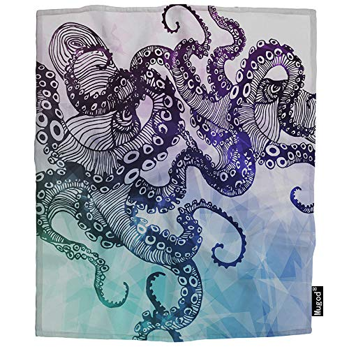 Mugod Abstract Octopus Blanket Hipster Element Polygon Crystal Element Symbol Tattoo Fuzzy Soft Cozy Warm Flannel Throw Blankets Decorative for Boys Girls Toddler Baby Dog Cat 40X50 Inch