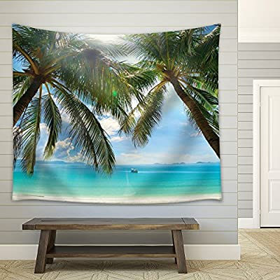 Grand Work of Art, Classic Design, Large Palm Trees on an Island Framing The Ocean as a Boat Sails by