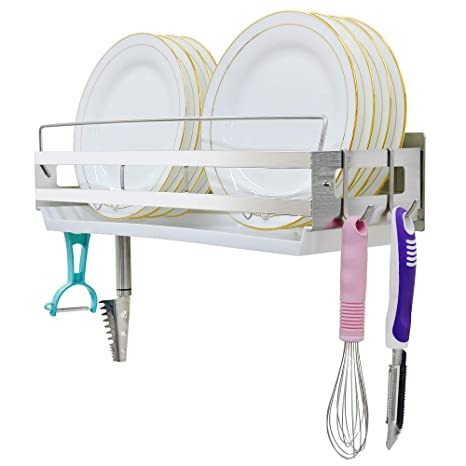 Awe Inspiring Hanging Dish Drying Rack Wall Mount Over The Sink With 4 Hooks Junyuan Kitchen Dishes Plate Rack Organizers With Removable Drain Interior Design Ideas Clesiryabchikinfo