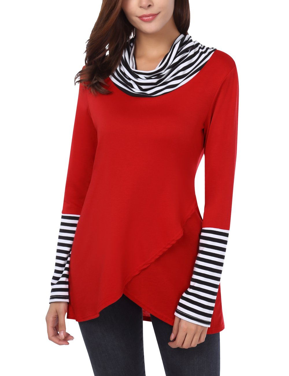DJT Cowl Neck Tops for Women, Women's Cowl Neck Draped Striped Stitching Long Sleeve Layered Top Red M