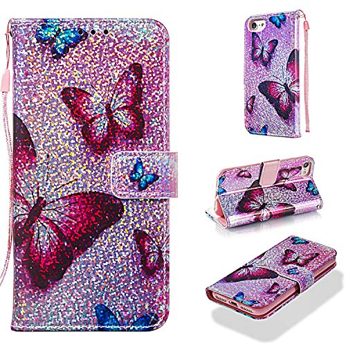 - iPhone 8 Case, iPhone 7 Case, iPhone 6/6s Case, UZER Glitter Sparkle Bling Diamond Shining Style Premium PU Leather Shockproof Kickstand Wallet Case with Cash/Card Slots Case for iPhone 8/7/6S/6 4.7