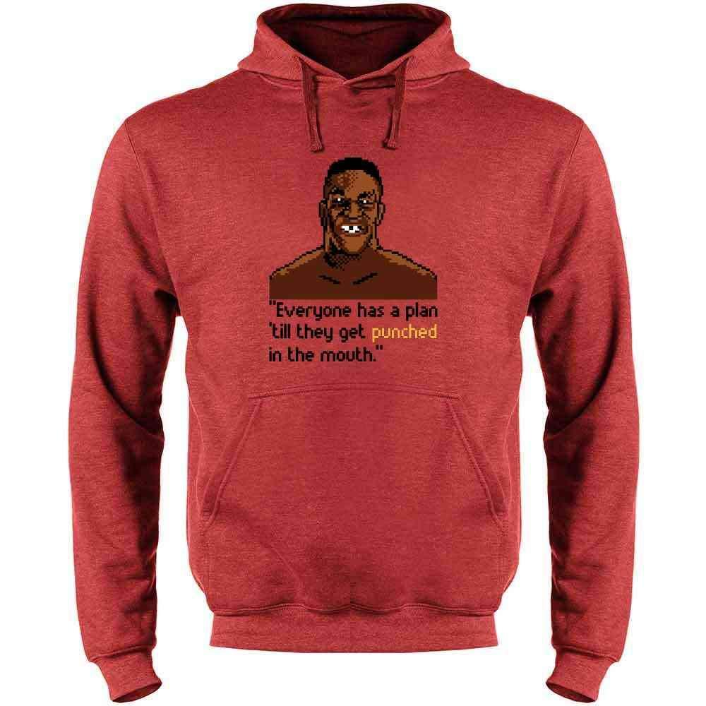 Iron Mike Everybody Has A Plan 8 Bit Quote Mens Fleece Hoodie Sweatshirt