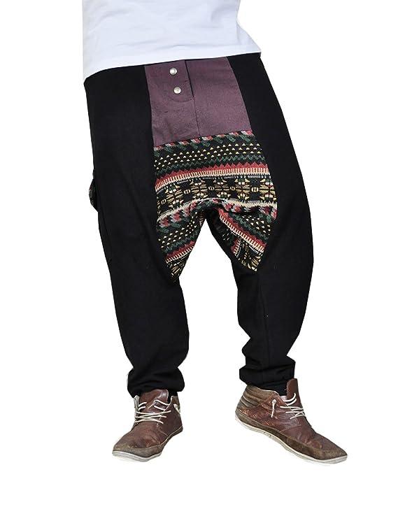 virblatt Pantalones cagados Jersey Largo en 2 Colores con una Entrepierna  Baja como Ropa Hippie y Pantalones Bombachos para Trotar M -  Abwechslungsreich  ... e49d351e459a