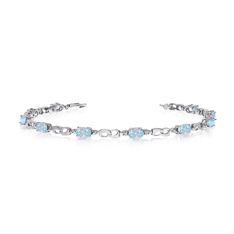 14K White Gold Oval Aquamarine and Diamond Link Bracelet (6 Inch Length)