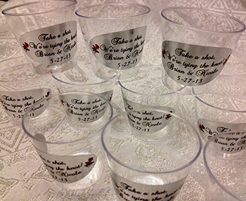 (50 PERSONALIZED 1oz. PLASTIC SHOT Cups for Bar at Wedding, or any Party/Event, SILVER FOIL DECORATION, Disposable cups makes great party favors or supply!)