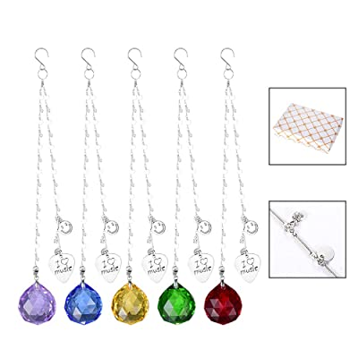 SHINY HANDLES Suncatcher Faced Crystal Ball Suncatchers 5 Pcs 30mm Crystal Prism Ball, Chakra Crystals Set, Gift Packing, Pack of 5 : Garden & Outdoor