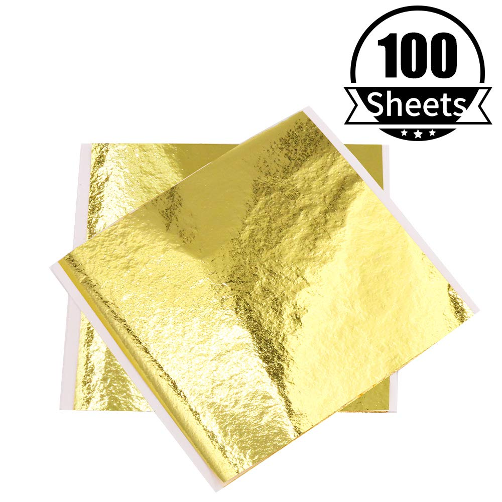 KINNO 100 Sheets 5.1 by 5.3 Inches Imitation Gold Foil Sheets Nails Wall Gilding Line Paintings Handcrafts Furniture Arts Decoration K Gold Leaf Paper for Picture Frames DIY Slime