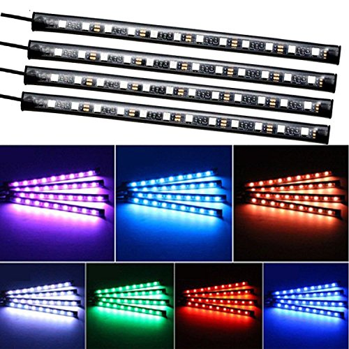Car LED Strip Lights,Unpopular 4pcs 48 LED USB Car Interior Music Multicolor Rope Lights Atmosphere Decorative SMD Neon Lamp Lighting with Sound Active Function,Wireless Remote Control(USB Port) by UNPOPULAR (Image #3)