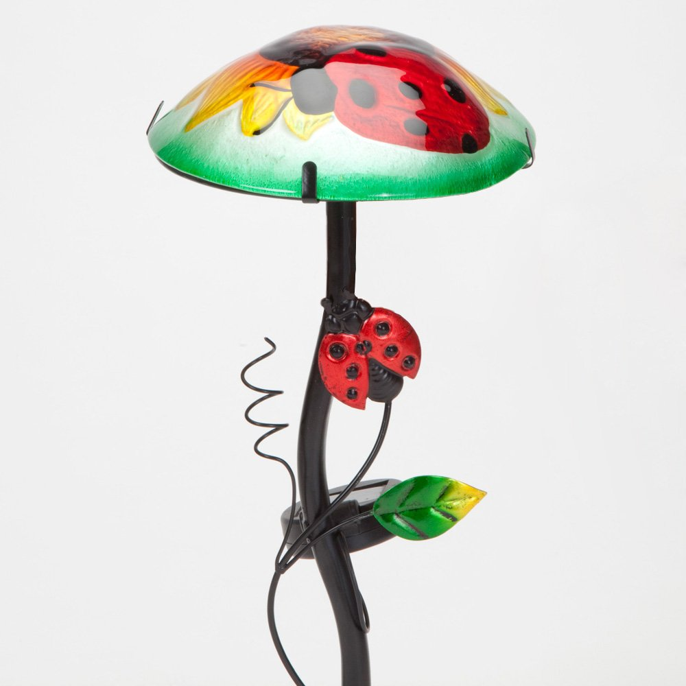 """Bits and Pieces - Solar Powered 12"""" Sunflower and Ladybug Garden Stake - Multi-Colored Lightup Glass Garden Statue - Beautiful Outdoor Sculpture"""
